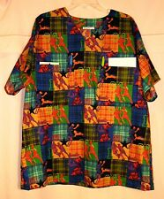 Four Sports on Plaid Scrubs Top w 4 Pockets (2 in BACK) Men size Large FSMTP20