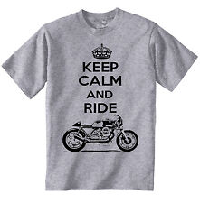 MOTO GUZZI CAFE RACER KEEP CALM AND RIDE-NEW AMAZING GRAPHIC TSHIRT S-M-L-XL-XXL