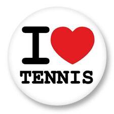 "Pin Button Badge Ø25mm 1"" ♥ I Love You j'aime Sport Raquette Tennis"
