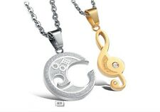 """Pair of Stainless Steel Couple Matching Music Note """"I Love You"""" Pendant Necklace"""