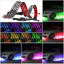 4x 7Color LED Strip Under Car Tube Underglow Underbody System Neon Light Kit RGB