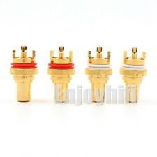 4x Gold Plated RCA Female Socket Chassis Connector Phono Copper Plug Amp HiFi