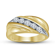 Band Ring 10K Yellow Gold Over 0.50 Ct Round Diamond Men's Engagement Wedding