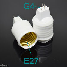 50pcs White G4 Male to E27 Female Socket LED Halogen CFL Light Bulb Lamp Adapter