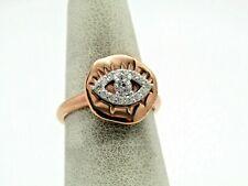 Diamonique Motif Ring 14K Rose Clad  Sz 5