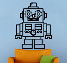 Robot Wall Decal Retro Vinyl Sticker Vintage Atr Childrens Room Wall Decor 8rt