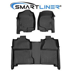 SMARTLINER Floor Mats Liner for 07-13 Silverado/Sierra 1500 and 07-14 2500/3500