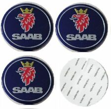 4x (Sticker) 56mm Saab Blue Wheel Centre Cap Hub Caps Logo UK Stock