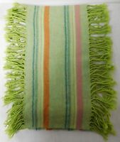 GREEN PINK AND BLUE STRIPED CASHMERE BLEND SCARF WITH FRINGE EUC
