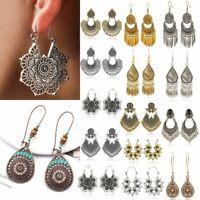 Vintage Silver Bronze Carved Dangle Earrings Bohemian Hoop Women Jewellery Gift