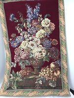 """Vintage Red Velvet Floral Wall Hanging Rug  Tapestry Woven Art Rug 42""""/27"""""""