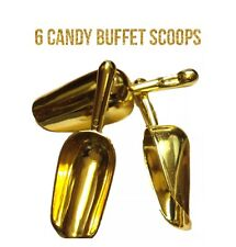 6 Gold Plastic 6� Candy Scoops Wedding Buffet Dessert Party Kitchen Decoration