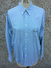 "Mens long sleeved  Shirt  - Blue Check ~ Size 42/44"" Chest ~ 100% cotton"