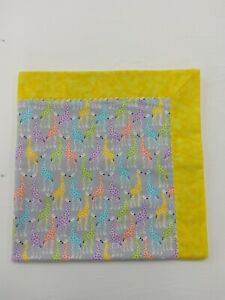 Yellow grey Giraffe Flannel Double sided Baby blanket, swaddle, quilt, Infant