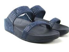 52e4d4a6e2d52 Women s Fitflop Blue Flare Slide Blue Suede Sandals Sz 8 Rhinestones 300-097