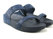 Women's Fitflop Blue Flare Slide Blue Suede Sandals Sz 8 Rhinestones  300-097