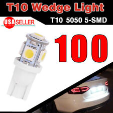100PCS Xenon White T10 Side Wedge 5-SMD 5050 LED Interior Light 168 194 2825 W5W