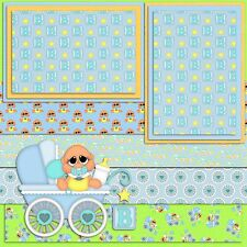 SIMPLY ADORABLE BABY BOY - 2 Premade Scrapbook Pages - EZ Layout 885