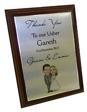 Metal THANK YOU PLAQUE Wedding gift for Best Man, Ushers, Bridesmaid, Parents