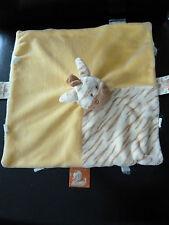43/ DOUDOU PLAT ZEBRE  NOUKIE'S   jaune écru beige - TRES BON ETAT !