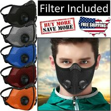 Reusable Mesh Dual Breathing Valve Face Mask Covering With PM2.5 Carbon Filter