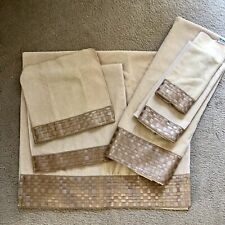Nwot Lot of 6 (2 Sets of 3) Avanti Brown/Gold 100% Cotton Towels New