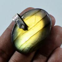 "Labradorite 925 Sterling Silver Pendant 1.25"" Jewelry PD-208"