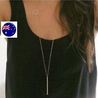 Women Lady Bohemian BOHO Silver color fine Bar Simple Long Necklace Pendant