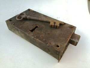 ancienne serrure porte entrée de chateau XIX ème 23x13cm  avec clé fonctionne