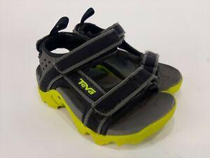 Teva Tanza Sandals Toddler Little Kids Boys Size 8 Black Gray Neon Green