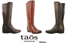 Taos Footwear long leather boots with zip on low wedge - Taos Shoes Divine