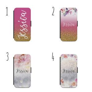 Personalised glitter rose gold name H13 flip Wallet phone Case