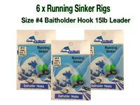 6 Running Sinker Whiting Fishing Rigs - #4 Baitholder Hook Size 2 Sinker 15lb