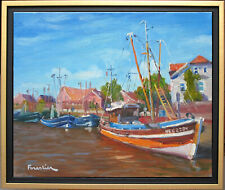 BOATS IN NEUHARLINGERSIEL~LISTED ARTIST~ORIGINAL OIL PAINTING BY MARC FORESTIER