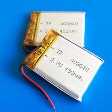 2 pcs 3.7v 450mAh Lipo Battery for MP3 MP4 DVD GPS Headphone Selfie stick 403040