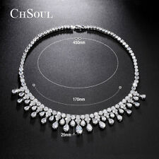 STUNNING Women Lady CZ Chain Cluster Necklace Silver Wedding Bridal Jewelry