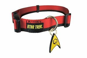 """STAR TREK """"UNIFORM"""" Dog collar Red Small 9""""-11"""" Neck NEW WITH TAG"""