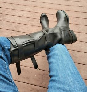 """HOT Men's Jean Gaborit Black Leather 3 Straps 20"""" Motorcycle Boots 11  45 HORNY!"""