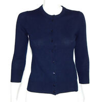 J. CREW 100% Cashmere Navy Blue Button Front Cardigan Sweater Womens size S 8505