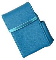 Blue CIGARETTE Hard Case pouch Leather Flip Top Lighter Holder 100's Regular