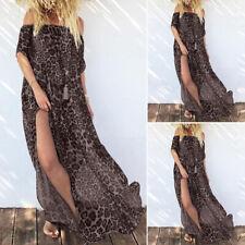 ZANZEA 8-24 Women Off Shoulder Sundress Beach Party Club Leopard Print Dress
