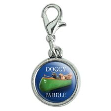 Doggy Dog Paddle Canoe Dogs Antiqued Bracelet Charm with Lobster Clasp
