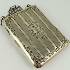 ANTIQUE FLORAL ENGRAVED AMERICAN STERLING SILVER LADIES DANCE PURSE COMPACT
