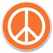 2 x Vinyl Stickers 10cm - Orange Peace Symbol Camper Van Surf Cool Gift #5611