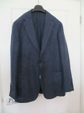 DRAKES BLUE DOG TOOTH CHECKED LINEN/SILK  JACKET SIZE 46 NEW WITH TAGS