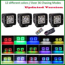 4x 3'' Inch LED Spot Work Light Bar Pod Cubes Multi Colored RGB HALO Ring Lamp