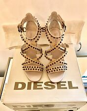 Diesel Ladies Nude Leather Sandals Size 8 EU 41 Studded Heels Brand New RRP £220