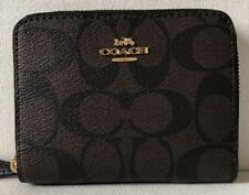 Coach Small Zip Around Leather Wallet F24808 IMBLK