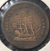 1815 1/2 Half Penny John Brown Halifax Nova Scotia Rare Canadian Token Coin