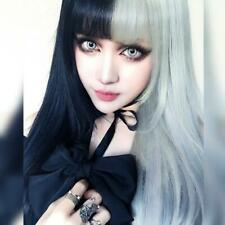 Black White Goth Rock Punk Vampire Synthetic Curly Hair Wig Cosplay Halloween
